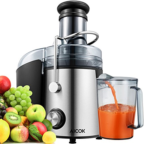 Juicer Aicok Juice Extractor Whole Fruit Juicer with 75mm Wide Mouth, 800W Centrifugal Power Juicer, Juicer for Fruit and Vegetables, 2 Speed with Juice Jug and Cleaning Brush,BPA Free