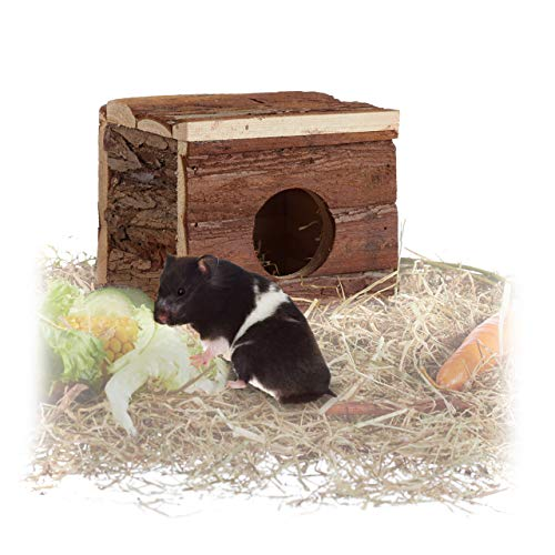 farbmaeuse kaefig Relaxdays Nagerhaus aus Holz, Hamster, Rennmaus, ohne Boden, 1 Öffnung, naturbelassen, Kleintierhaus 14x15x13cm, braun