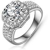 Garberiel 18K Plated Crystal Zircon diamond ring Size 8 Christmas gifts
