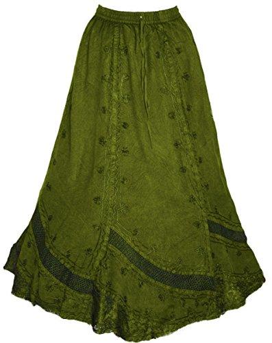 Dark Dreams Gothic Mittelalter Ethno Wicca Pagan Rock Skirt Hydra oliv grün 34 36 38 40, Farbe:weinrot