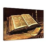 Bilderdepot24 Leinwandbild - Vincent Van Gogh - Stillleben mit Bibel - 80x60cm Einteilig - Alte Meister - Bilder als Leinwanddruck - Kunstdruck - Leinwandbilder - Bild auf Leinwand - Wandbild