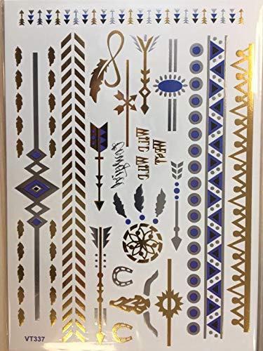 10 pz tatuaggi temporanei metallizzati homewins ephemera d'oro splendente varietà di adesivi impermeabili anniversary motivi classici