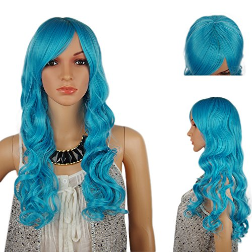 Spretty Geist-hohe Qualität lange lockige wellenförmige Perücke-flaumige blaue Farben-Perücke für Frauen Cosplay (Tinkerbell Punk Kostüm)