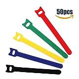 Klett Kabelbinder Wiederverwendbar, XIAO MO GU 50 Stück 155 x 10 mm Klettbinder-Streifen, 5 Farben - Gelb, Blau, Grün, Rot, Schwarz