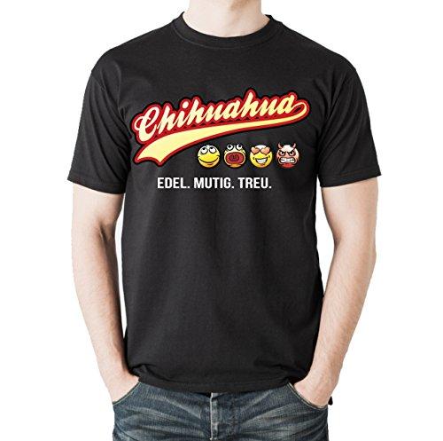Siviwonder Unisex T-Shirt CHIHUAHUA - OLD SCHOOL SCHRIFT Hunde Schwarz