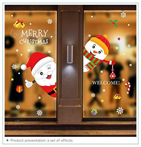 SUN-YUANYI Lindas pegatinas navideñas para Ventana de vidrio puerta autoadhesiva vinilo Navidad decoraciones para EL hogar calcomanía muñeco de Nieve Santa Claus PVC DIY Papel Pintado