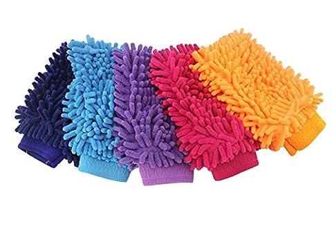 Chytaii Gant de Nettoyage Microfibre Double-Face Gant de Lavage en Chenille pour Voiture / Verre / Carreau Wash Mitt Couleur Aléatoire