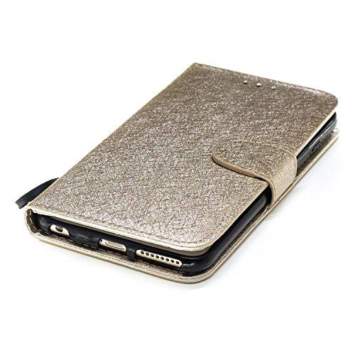 Schutzhülle für Apple iPhone 5 / 5S / SE Golden, TOCASO Ultra Thin PU Leder Flip Cover Tasche Ledertasche Handytasche Hülle für iPhone 5 / 5S / SE Buchstil Handyhülle Protective Case Etui Bumper Schal Golden