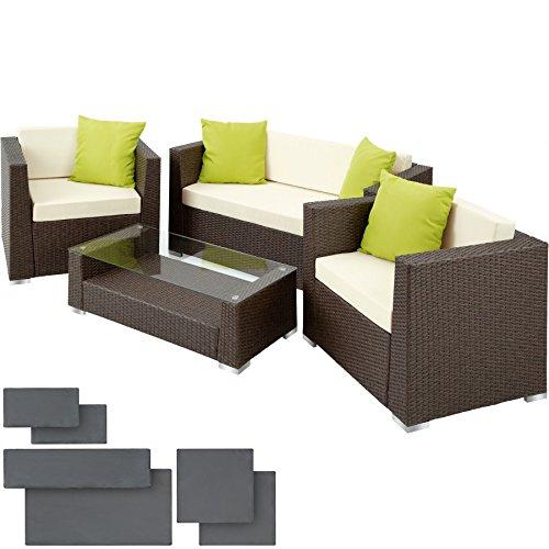 Galleria fotografica TecTake Set di mobili rattan alluminio arredamento giardino + 4 cuscini extra - disponibile in diversi colori - (Marrone Antico)