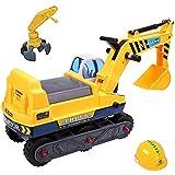 Excavadora de paseo 2 en 1 con dos palas de deAO; para niños, sin pedales