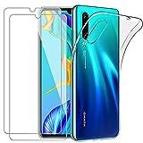 YOOWEI Coque Huawei P30 Transparente + [2 Pack Verre trempé écran Protecteur], Ultra Fin Transparente Silicone Gel TPU Etui de Protection Housse Antichoc pour Huawei P30