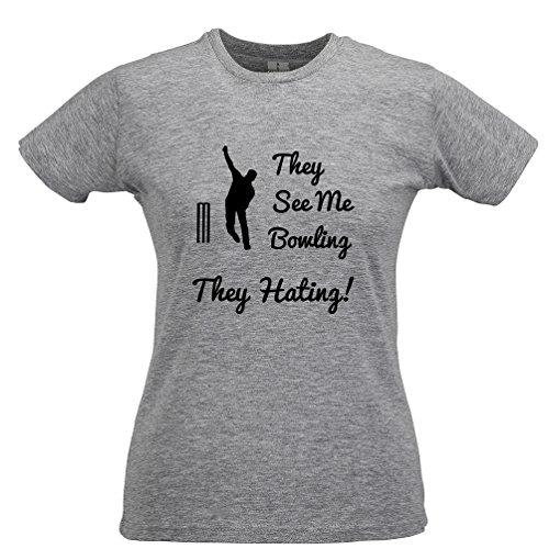 Tim and Ted Voir Bowlin, Ils Hatin Cricket Imprimé Citation Slogan T-Shirt Pour Femme Grey