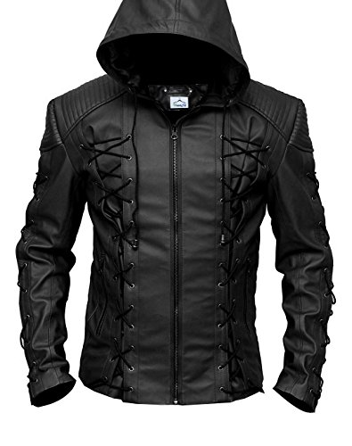 VearFit Stephen Amell Arrow Roy Harper Mens Faux Leather Jacket Regular Big & Tall