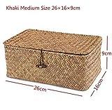 Beauty Case Vintage Vimini Cestino Cosmetico Trucco Gioielli Storage Box Sacchetto di Immagazzinaggio Zakka Contenitore Vestiti Giocattoli per bambini Viaggi Organizzatore, A