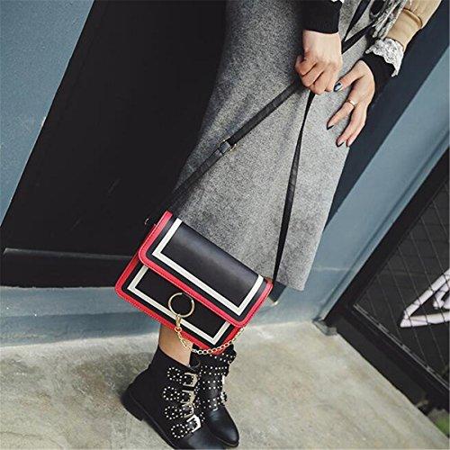OURBAG Frauen Umhängetasche Damen Kleine Modische Handtasche mit Ring Weiß Schwarz Weiß Schwarz