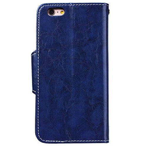 WE LOVE CASE Coque iPhone 6 Plus, Étui en Cuir de Protection Housse Étui iPhone 6S Plus Portefeuille, Coque avec Rabat Fonction Support Fente Carte et Magnétique Fermeture Porte Folio Flip Cas Wallet  Bleu
