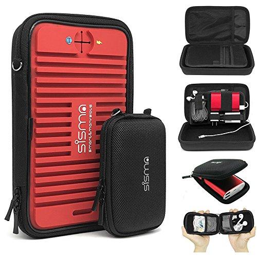 sisma Custodie Porta Cavi da Viaggio per PowerBank Caricabatterie Auricolari Chiavette USB Schede Memoria Accessori Elettronici, rosso e una piccola borsa SCB16128S-R