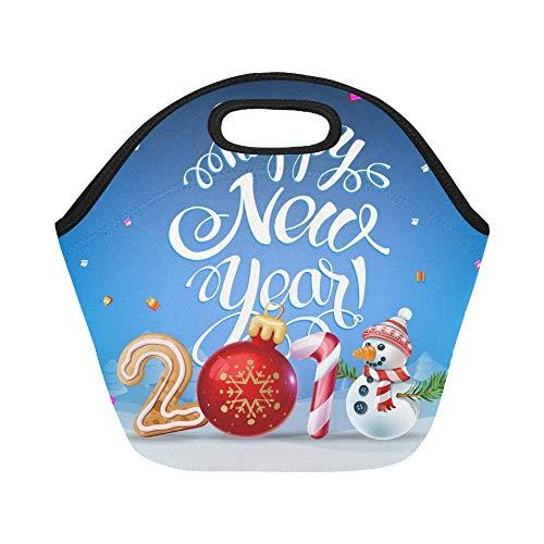 Isolierte Neopren-Lunch-Tasche Frohes neues Jahr 2019 Dekoration Poster große wiederverwendbare thermische dicke Mittagessen Tragetaschen für Brotdosen für draußen, Arbeit, Büro, Schule (Frohes Neues Jahr Hats)