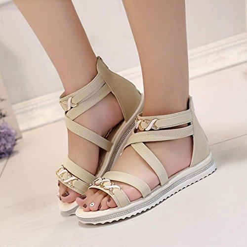 HCFKJ 2017 Mode Frauen Flat Shoes Sommer Soft Leather Leisure Sandalen Khaki