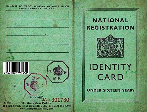 Children's Identity Card from World War 2 - REPLICA DOCUMENT Registration Card