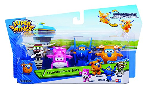 Auldeytoys YW710620 4er Pack Super Wings Transfoming Mini Jerome Donnie Dizzy Bello Spielzeugfigur Mini Flugzeug Spielzeug