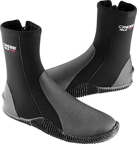 Cressi Isla Boots, Calzari per Immersione in Neoprene con Suola Unisex Adulto, Nero/3 mm, L (L (42/43)