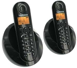 Telefunken Peps TB202 Téléphone sans fil DECT mains-libres avec combiné supplémentaire Noir/Blanc