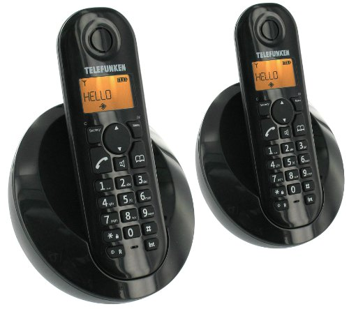 Telefunken Peps TB202 - Teléfono fijo inalámbrico (con manos libres, incluye combinado suplementario), color negro (importado)