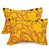 #8: Ahmedabad Cotton 2 Pcs Cotton Pillow Cover Set - Yellow, Orange