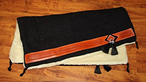 51caTPMBozL BEST BUY UK #1Western Saddle Pad with soft weaved fur with leather decoration size Full, Colour:black price Reviews uk