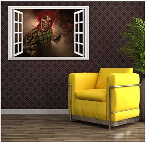 Ymran Kreative Stereo 3D Gefälschte Fenster Wandaufkleber Halloween Teufel Clown Aufkleber Wohnzimmer Schlafzimmer Dekor