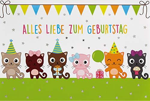 Süße Geburtstagskarte Glückwunschkarte Kindergeburtstag Happy Birthday Card für Kinder und Erwachsene (Katzen)