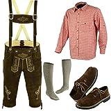 Speed4allkinds Herren Trachten Lederhose Größe 46-62 Trachten Set 5 Teilig Bayerische Trachtenlederhose,Hemd,Schuhe,Socken (Hose 52, Schuhe 45)