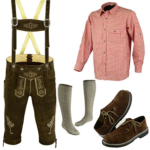 Speed4allkinds Herren Trachten Lederhose Größe 46-62 Trachten Set 5 Teilig Bayerische Trachtenlederhose,Hemd,Schuhe,Socken Neu (Hose 52, Schuhe 44)