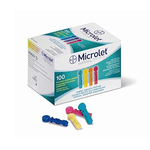 100x MICROLET® Lanzetten, Nadeln Blutzucker Blutlanzetten, farbig, silikon (Lanzette Microlet)
