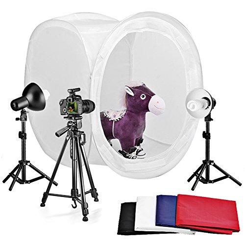 Neewer® Tischplatte Runde Fotografie Studio Zelt Beleuchtung Set enthältet: Licht Faltbare Zelt Hintergründe Licht Ständer Reflektor Studiolicht Lampen Dreibeinstativ