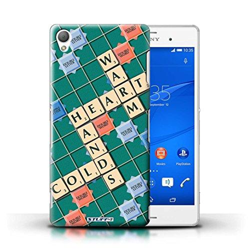 Kobalt® Imprimé Etui / Coque pour Sony Xperia Z3 / Ignorance Béatitude conception / Série Mots de Scrabble Coeur Chaud
