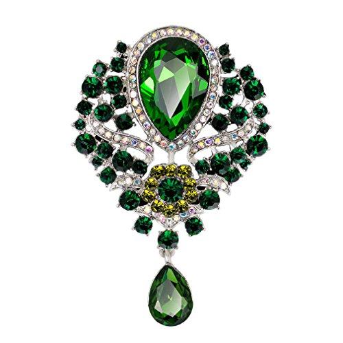 Yazilind Art und Weise Lilien-Blume eingelegte Rhinestones-Legierungs-Zirconia-hängende Brosche Frauenmädchen Zusätze (Grün)