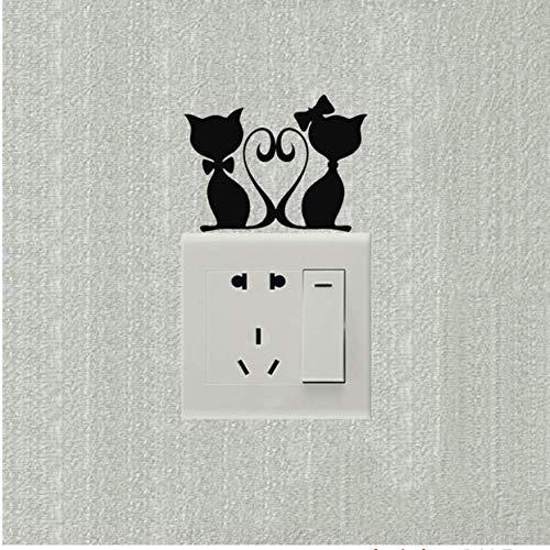 Ldwxn Wandaufkleber 5 Stücke Liebevolle Kätzchen Hochzeit Raumdekoration Schalter Aufkleber Vinyl Kunst Wandtattoos -