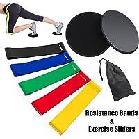 Rantizon, Set mit 5 Workout-Bändern aus Naturlatex, Gleiter und Widerstandsbänder, Equipment für Bauchübungen, Fitnessstudio/Fitness/Dehnen/Yoga/Pilates
