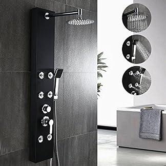 Auralum – Panel de Ducha Moderna Acero Inoxidable Columna de Hidromasaje para Baño, Color Negra, 1200 *200 *500mm