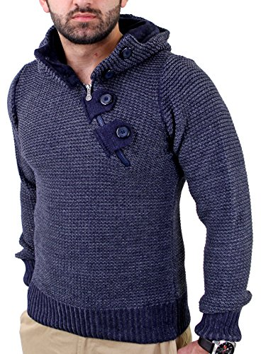 Reslad Herren Grobstrick Kapuzenpullover Winter Pullover RS-3207 Navyblau