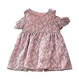 feiXIANG Kinderkleidung Mädchen Schulterfrei Dresses Casual Kleidung Baby Kinder Babykleidung Ballkleid Festzug Kleider (Rosa,110)