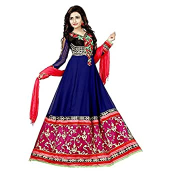 Aarvicouture Women's Georgette Silk Salwar Suit Dress Material (_Blue_Free Size)