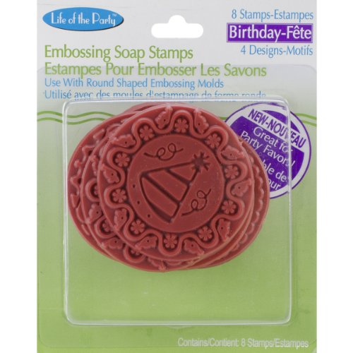 Life Of The Party Soap Embossing Stamp Assortment 8/Pkg-Round - Birthday, Other, Multicoloured