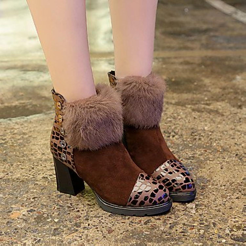 RTRY Zapatos De Mujer Otoño Invierno Tejido Confort Botas De Tacón Chunky Botines/Botines De Café Rojo Casual...