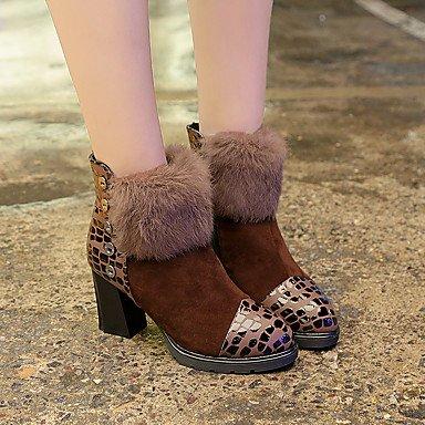 RTRY Scarpe Donna Tessuto Autunno Inverno Comfort Stivali Chunky Heel Babbucce/Stivaletti Di Abbigliamento Casual Rosso Nero Caffè US7.5 / EU38 / UK5.5 / CN38