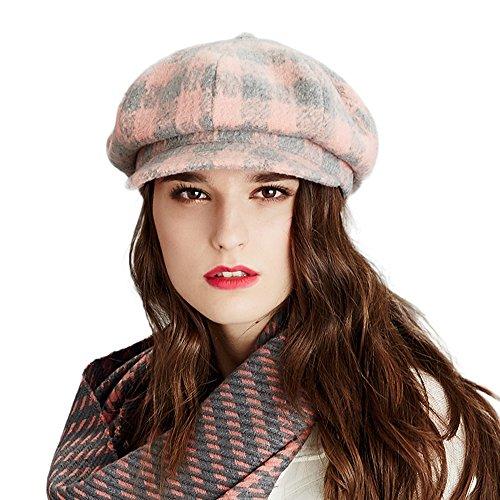 Kenmont mujeres dama niñas boina sombrero gorra con visera corta al aire libre ala (Rosa)