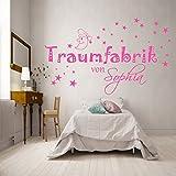 Wandaufkleber Wandtattoo TRAUMFABRIK von...personalisiert Wunschnamen mit Sternen und Mond für Jungen und Mädchen in 21 Farben zur Auswahl