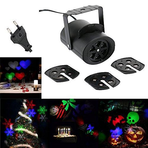 (Docooler 4W RGB Projektor Lampe LED Projektions Licht mit 4 Austauschbaren Mehrfeld Karten/LED B¨¹hne Licht Effektlampe, Muster Dekoration Lampe/Weihnachtsbeleuchtung f¨¹r Garten Festival Dekoration)